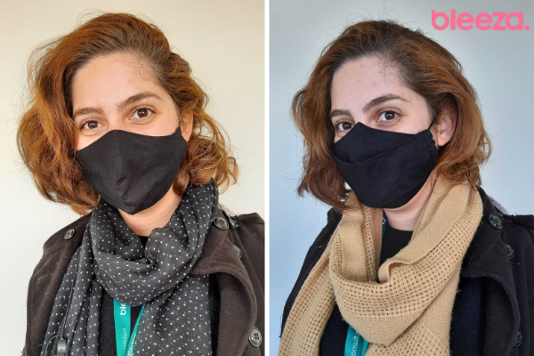 Antes e depois de usar a máscara Color Xplode Ruivo Valente