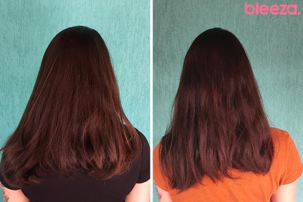 Antes e depois ampola de tratamento pantene pro-V cabelo liso